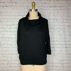 Ann Taylor Sweater Black Cowl Neck 3/4 Loose Fit
